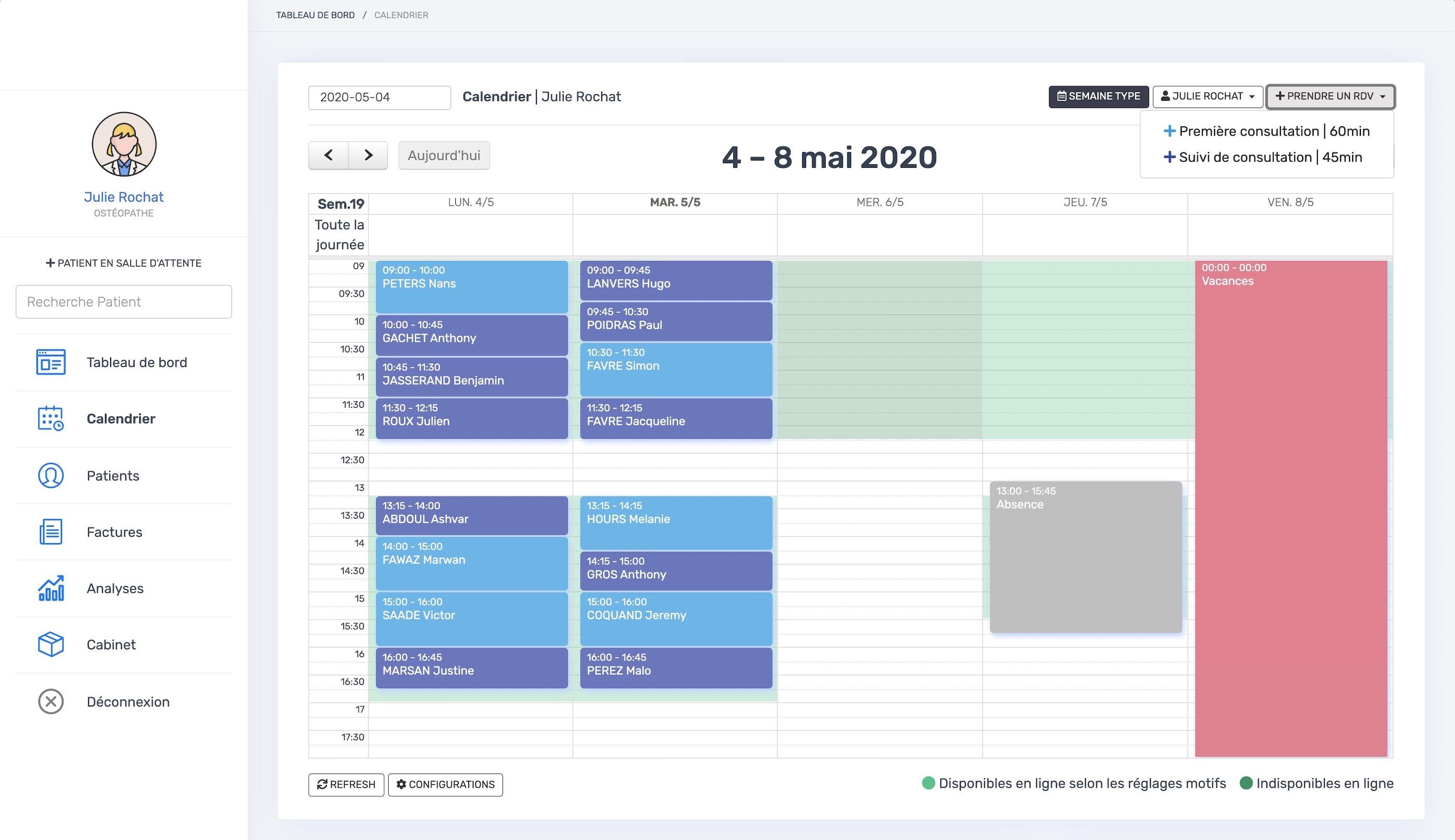 Le calendrier | PERF'SANTE