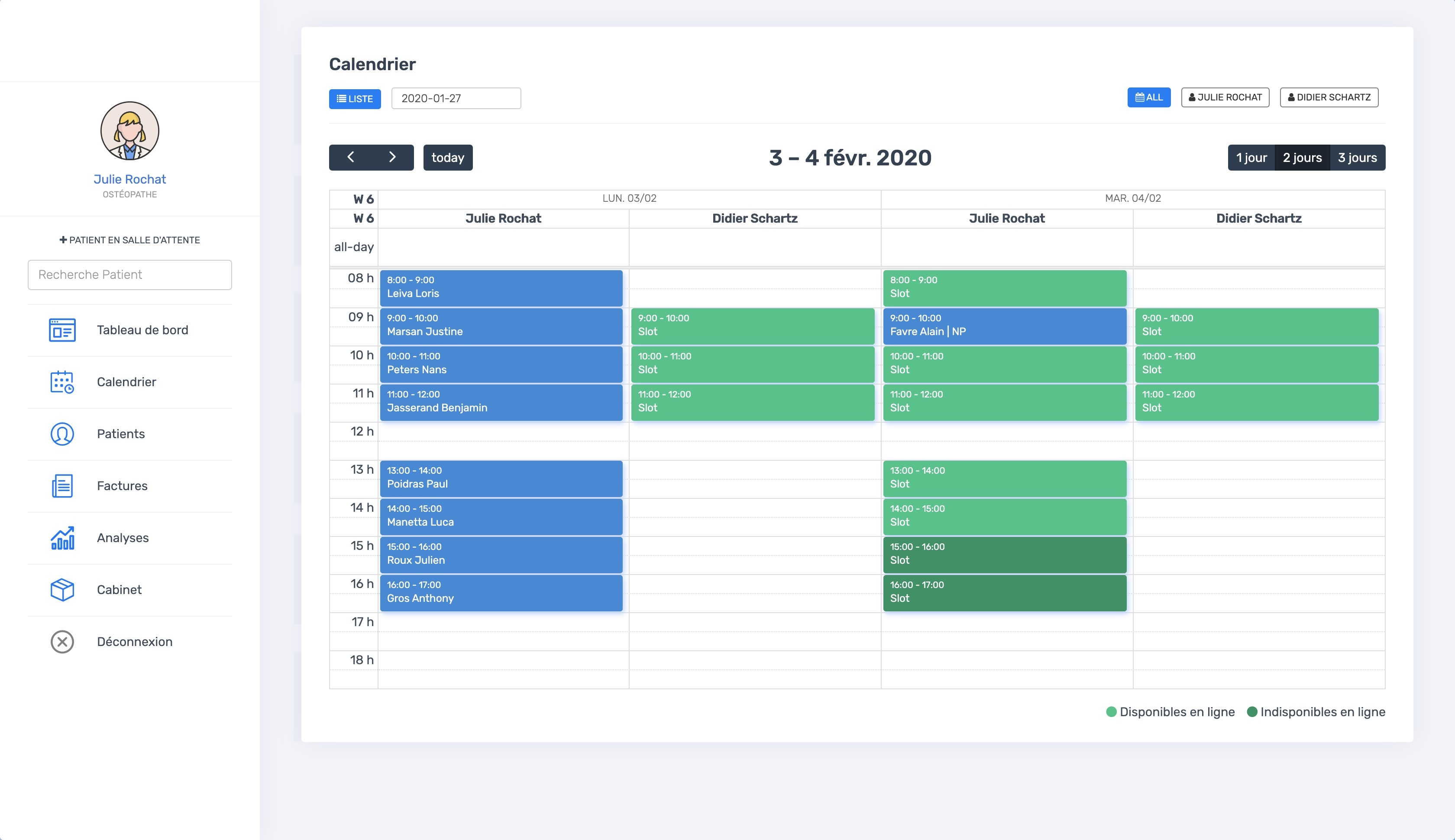 La vue du calendrier multi-thérapeutes | PERF'SANTE