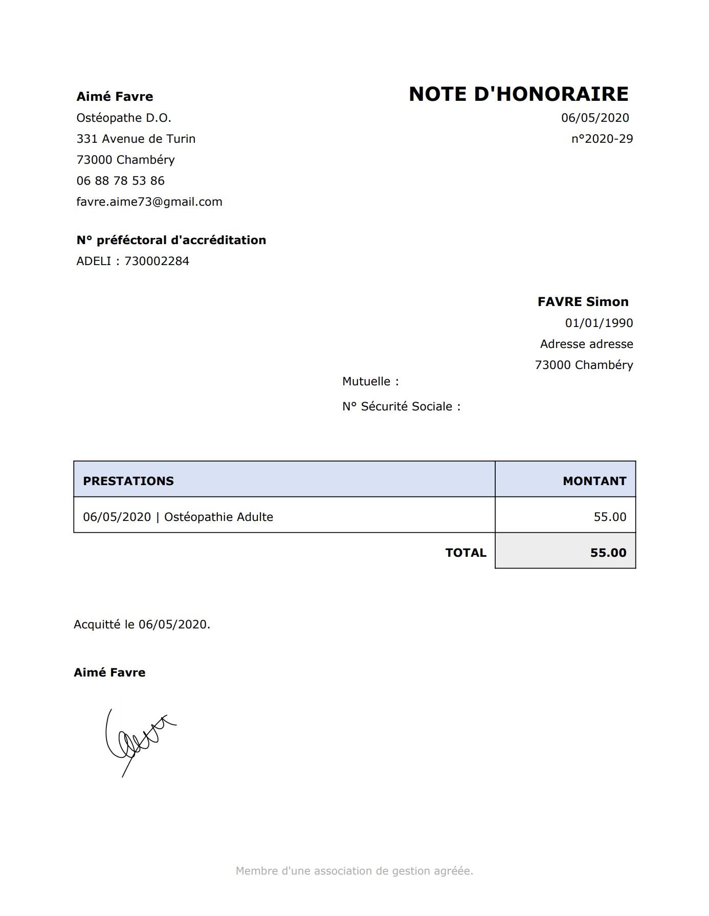 Génération de Document / Lettre | PERF'SANTE